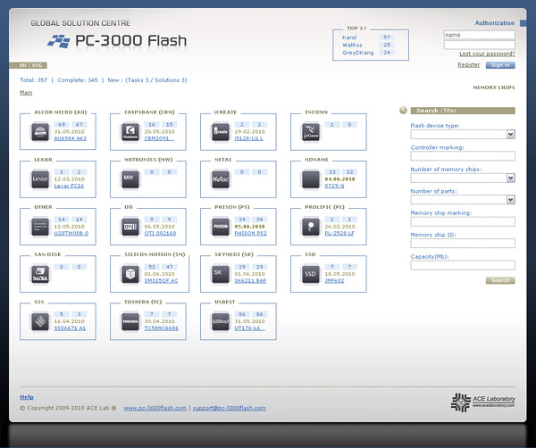 Список утилит комплекса PC-3000 Flash SSD Edition постоянно